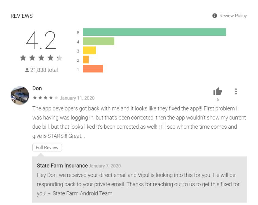 State Farm Mobile App Reviews