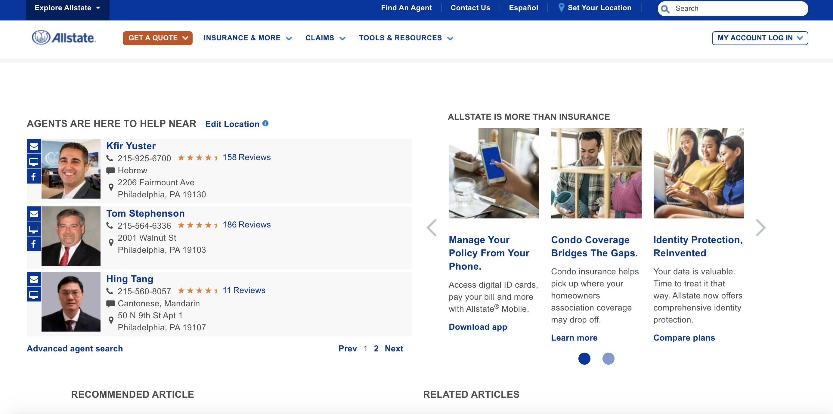 Allstate website Home Page Agents