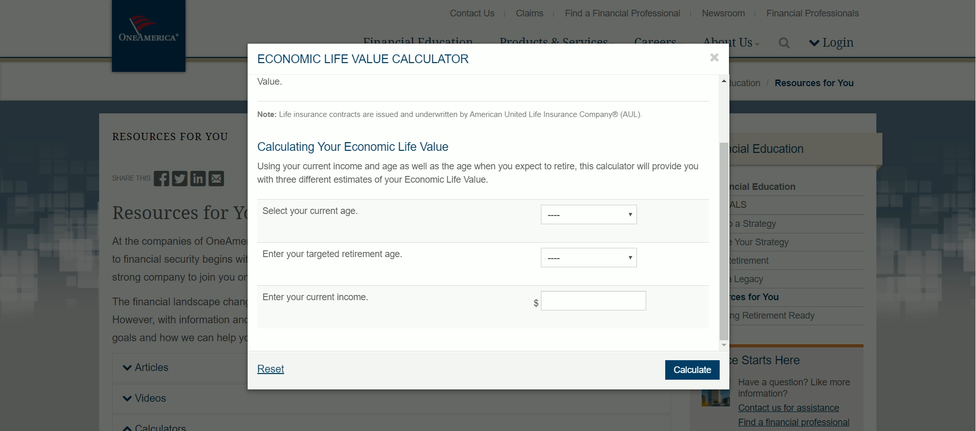 OneAmerica Economic Life Value Calculator