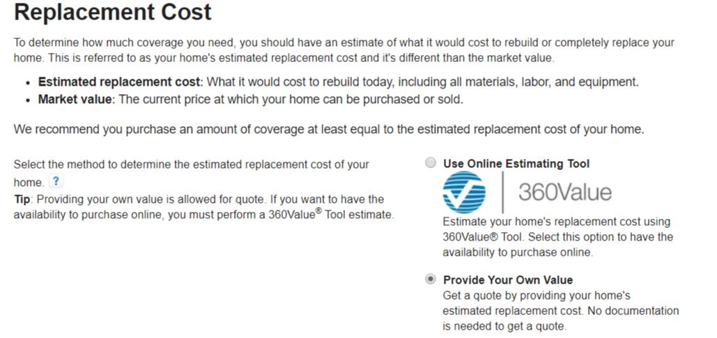 State Farm Online Quote home value estimator