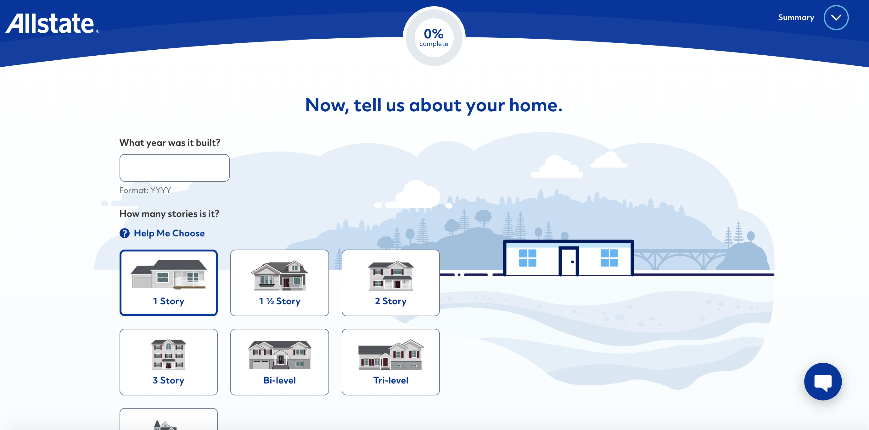 Allstate website quote Page Providing Home Information