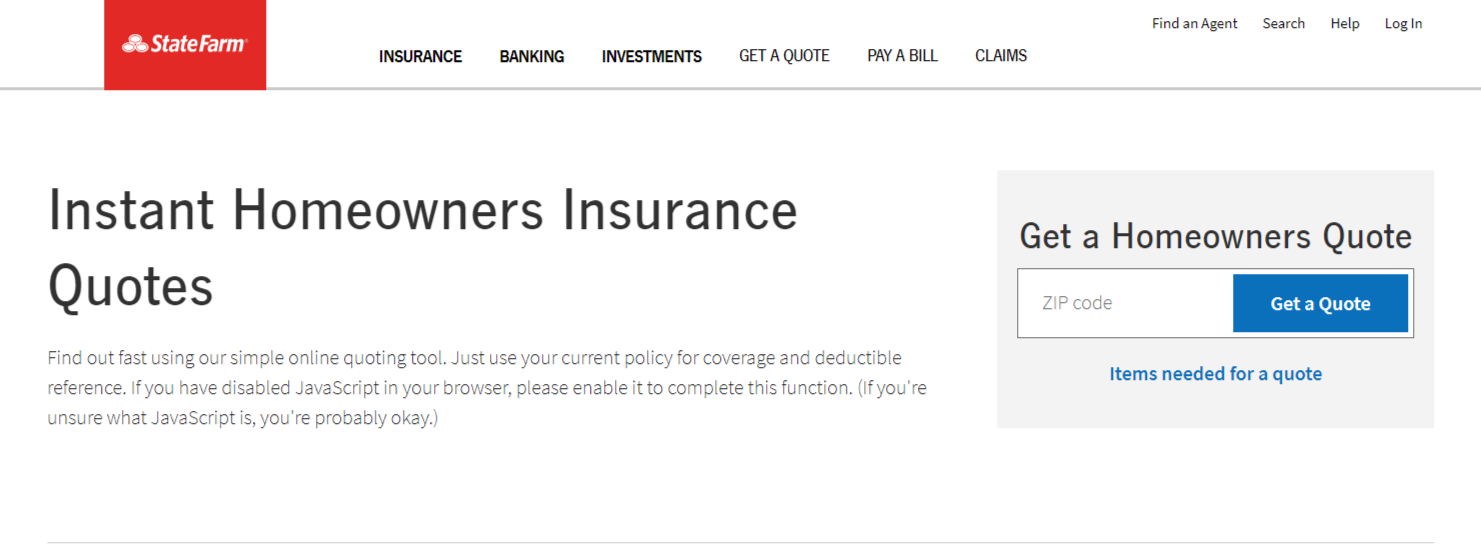 State Farm Home Insurance Online Quote