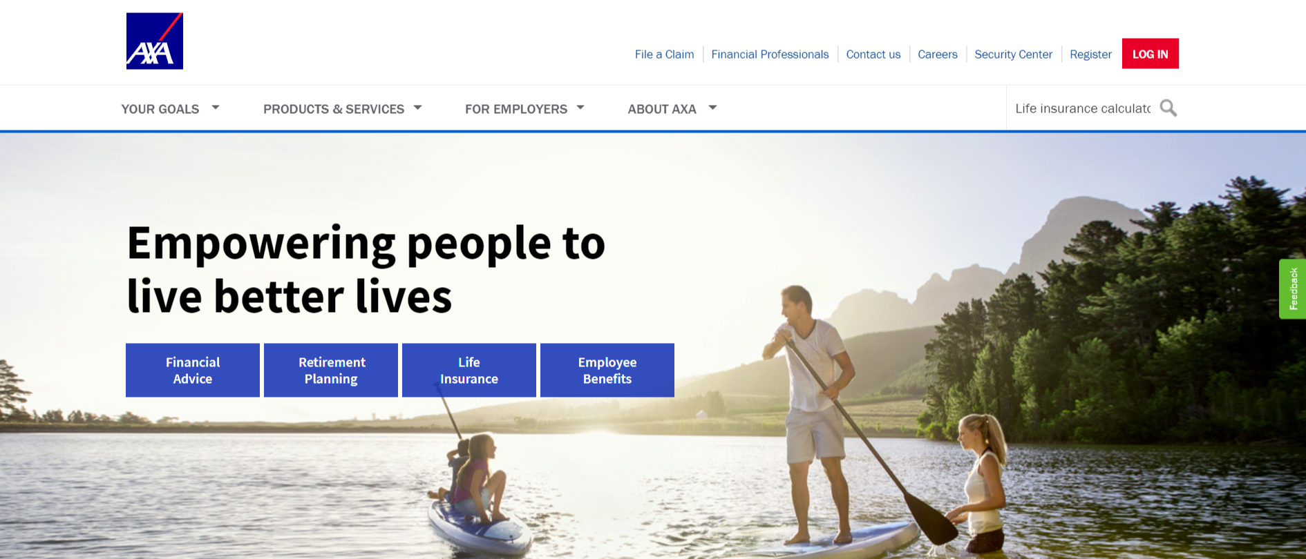 indicating where to search for the life insurance quote tool on AXA